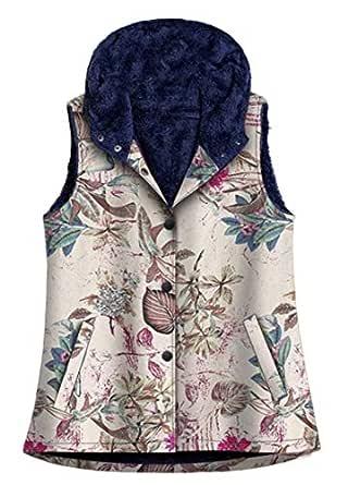 Macondoo Women Fleece Jacket Hoodies Parka Warm Waistcoat Fall Winter Vest Rose S