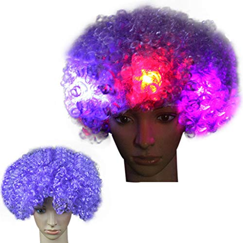 Dumanfs Party Disco LED Flash Clown Hair Wigs, Football Fan-Adult Afro Masquerade Hair Wig Cosplay Party Wigs ()