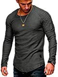 Leomodo Solid Color Sleeve Pleated Patch Detail Long Sleeve T-Shirt Dark Gray