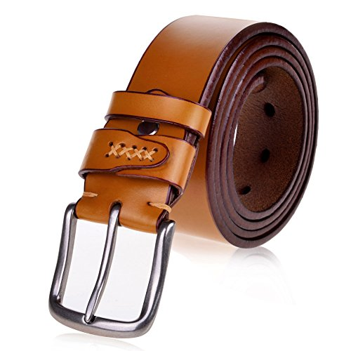 Vbiger Vintage Men's Belt 1 1/2″ (38mm) Wide Genuine Leather Smooth Bridle Waist Strap (Khaki)
