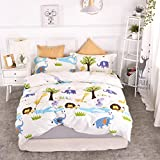 Chesterch Prevoster Kids Duvet Cover Set 100% Organic Cotton,Cartoon animals Cute Bedding Boys Reversible Comfortable,3 Pieces Comforter Cover and 2 Pillowcases,Twin Size