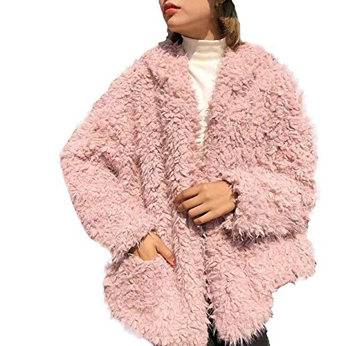 kaifongfu Fur Jacket Outerwear,Women's Fluffy Coat with Fleece Fur Hoodies Wrap(Pink,S)