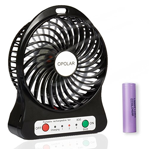 OPOLAR Rechargeable Handheld Mini USB Fan, Desk and Outdoor Fan,with 2200mAh Battery and Side Light-Black (3 Settings, 3.9ft Cable) for Travel, Home and Office-F101B