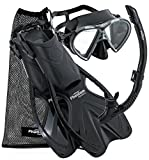 Phantom Aquatics Adult Mask Fin Snorkel Set with Mesh Bag, Black, Small/Medium/Size 4.5