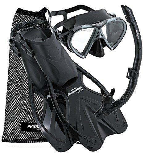 Phantom Aquatics Adult Mask Fin Snorkel Set with Mesh Bag, Black, Small/Medium