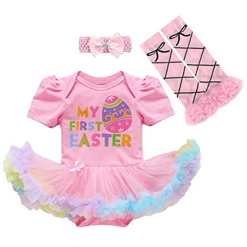 Newborn Baby Girls Cotton 3pcs/4pcs Set My 1st Easter Eggs Rabbit Bunny Romper Tutu Dress Outfits Short Sleeve Birthday Cake Smash Party Bodysuit Jumpsuit Playsuit Bowknot Leg Warmer Shoes Clothes from IWEMEK