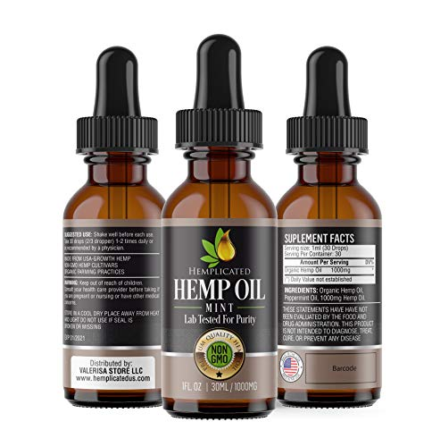 Hemp Oil 1000mg for Pain Relief, Stress Relief, Anti Anxiety, Sleep Aid, PTSD, Skin and Hair - Organic Drops from Certified USA Growth Hemp Farms - 1 Fl Oz (30 ml) HEMPLICATED (Best Weed For Anxiety And Panic Attacks)