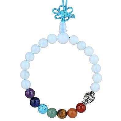 Nupuyai Chakra Bracelet - 8mm Stress Relief Yoga Stone Beads Bracelet for Men 7 Chakras Anxiety Bracelet for Women