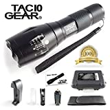 TAC10 GEAR Tactical LED Flashlight XML-T6 1000 Lumens Includes Rechargeable Li-Ion Battery and Charger Plus Pouch - Adjustable Zoom Focus 5 User Modes Water Resistant