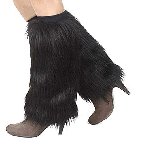 Women's Clothing Women Winter Fashion Faux Furry Solid Color Soft Leg Warmers Boot Covers Leg Warmers