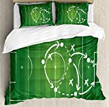 Ambesonne Soccer Duvet Cover Set Queen Size, Game Strategy Passing Marking Dribbling towards Goal Winning Tactics Total Football, Decorative 3 Piece Bedding Set with 2 Pillow Shams, Green White