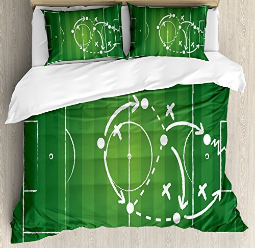 Ambesonne Soccer Duvet Cover Set Queen Size, Game Strategy Passing Marking Dribbling towards Goal Winning Tactics Total Football, Decorative 3 Piece Bedding Set with 2 Pillow Shams, Green White by Ambesonne