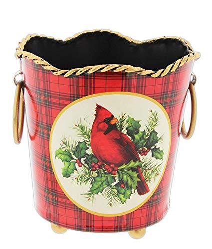 Holiday Themed Metal Bucket Planter with Plaid Cardinal Motif