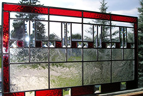 Chicago Stained Glass (Red Chicago Style Craftsman Prairie Bevel Stained Glass)