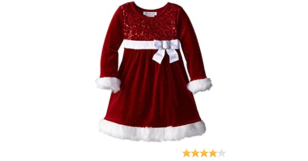 4c20781f948 Amazon.com  Bonnie Jean Girls Glitter Red Velvet Sequin Christmas Holiday  Dress