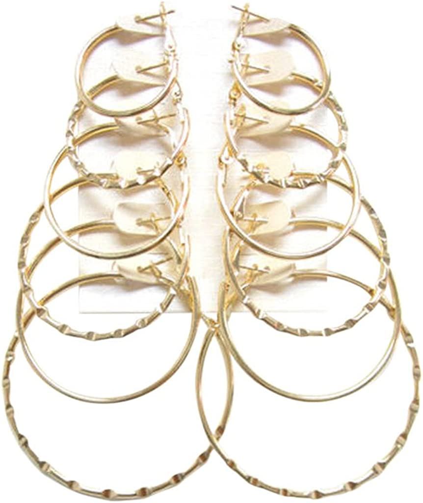 Hoops Earrings Sets 6 to 12 Pair; 1, 1.2, 1.4, 1.6, 1.8, 2 inches