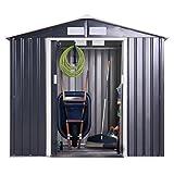 JAXPETY Garden Storage Shed Galvanized Steel Outdoor Tool House 7 x 4 Ft Heavy Duty W/Floor Frame