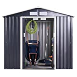 JAXPETY Garden Storage Shed Galvanized Steel Outdoor Tool House 7 x 4 Ft Heavy Duty W/Floor Frame