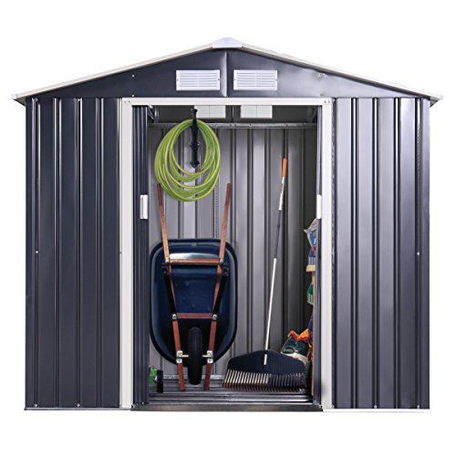 Galvanized Shed (JAXPETY Garden Storage Shed Galvanized Steel Outdoor Tool House 7 x 4 Ft Heavy Duty W/Floor Frame)