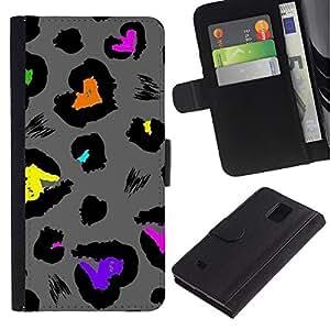 LASTONE PHONE CASE / Lujo Billetera de Cuero Caso del tirón Titular de la tarjeta Flip Carcasa Funda para Samsung Galaxy Note 4 SM-N910 / Jaguar Abstract Grey Pattern