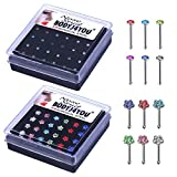 BodyJ4You Nose Rings Bone Stud Pin CZ 20G Lot 24-48 PCS Stainless Steel Body Piercing Jewelry