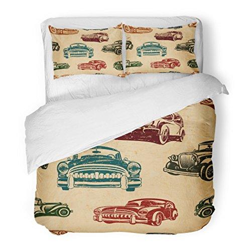 SanChic Duvet Cover Set 1950S Vintage Car Auto Retro 1960S Abstract Antique Decorative Bedding Set with Pillow Sham Twin Size