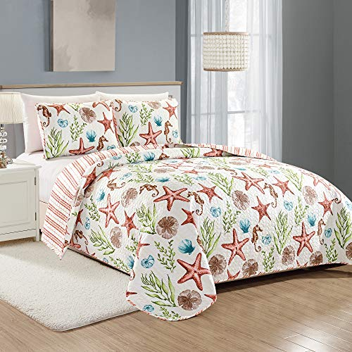 Great Bay Home Castaway Coastal Collection 3 Piece Quilt Set with Shams. Reversible Beach Theme Bedspread Coverlet. Machine Washable. (Full/Queen, Multi) ()
