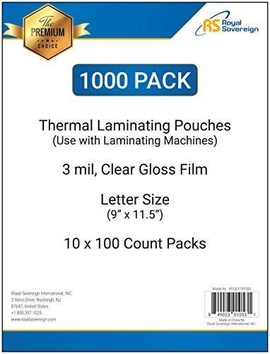 Royal Sovereign 1000-Count Thermal Laminating Pouches, 9 x 11.5 -Inches, 3 mil thick, (1000 Thermal)