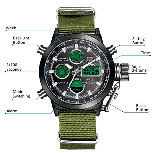 LYMFHCH-Big-Face-Sports-Watch-for-Men-Waterproof-WatchMilitary-Multifunction-LED-Date-Chronograph-Green-Canvas-Band-Wrist-Watch