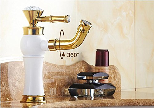 A Makej Classic Beautiful Deck Mounted Single Handle Counter Top Basin Faucet gold Brass Hot and Cold Water Bathroom Mixer Taps A