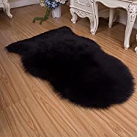 Luxury Super Soft Faux Fur Sheepskin Rug Fuzzy Fluffy Carpet for Bedroom,Living Room Armchair Couch£¬Sofa 25.6 x 40inch black