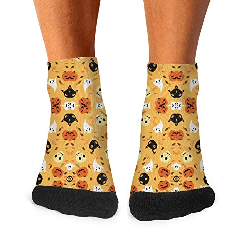 Halloween pumpkin cat skull pattern Men Carpet Socks Non-Slide Daily Socks -
