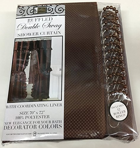 Shower Valance Curtain (Double Swag Fabric Shower Curtain with Vinyl Liner and 12 Roller Shower Rings (Chocolate Brown))