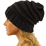 Winter Trendy Warm Oversized Chunky Baggy Stretchy Slouchy Skully Beanie Hat Mix Black
