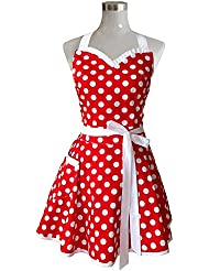 Lovely Sweetheart Red Retro Kitchen Aprons Woman Girl Cotton Polka Dot  Cooking Salon Pinafore Vintage Apron