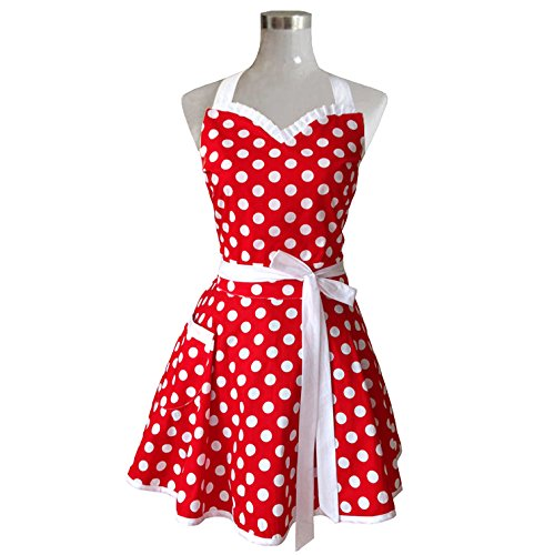Lovely Sweetheart Red Retro Kitchen Aprons Woman Girl Cotton Polka Dot Cooking Salon Pinafore Vintage Apron Dress Christmas (50s Aprons For Women)