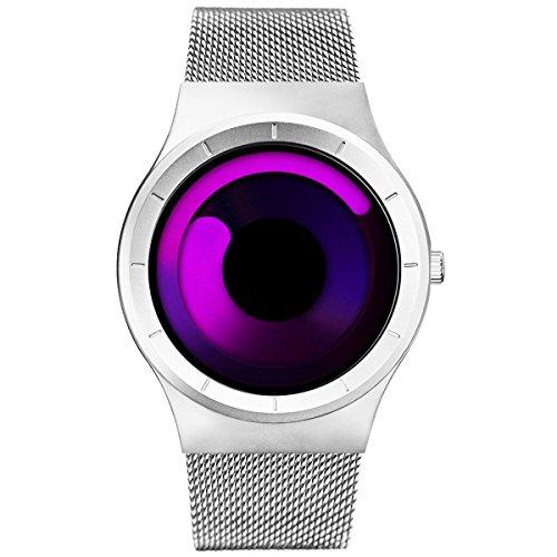Designer Watch (SINOBI Stylish Men's Women's Quartz Wrist Watch with Unique Dial Swirl Pointer Design and Stainless Steel Milanese Mesh Band)