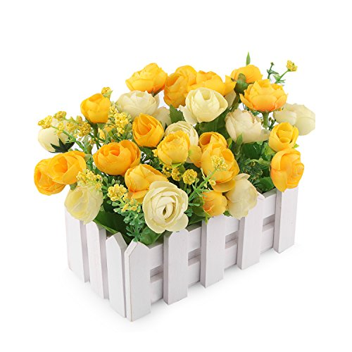 Louis Garden Artificial Flowers Fake Rose in Picket Fence Pot Pack - Mini Potted Plant (Yellow)