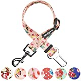 Blueberry Pet Spring Scent Inspired Rose and Butterfly Print Pastel Pink Adjustable Dog Seat Belt Tether for Dogs Cats, Durable Safety Car Vehicle Seatbelts Leads Use with Harness