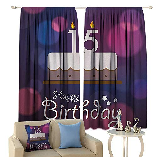 HoBeauty 15th Birthday, Room Darkening Wide Curtains, Number Fifteen Burning Candles on Cake with Abstract Artistic Display, Decor Curtains by,(W72 x L45 Inch, Blue Pink White