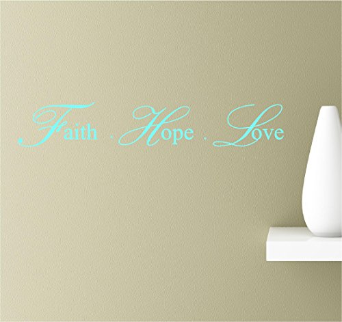 - Southern Sticker Company Faith Hope Love Cursive Inspirational Wall Sayings Vinyl Decals Art (Mint)