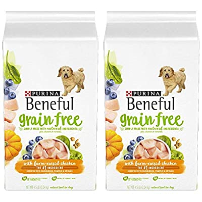2 Bags of Purina Beneful Grain-Free with Real Farm-Raised Chicken Adult Dry Dog Food - 4.5 lb. Bag ea