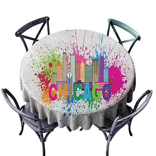 duommhome Chicago Skyline Easy Care Tablecloth Splash of Colorful Paint Background with Text of Chicago and Cityscape Indoor Outdoor Camping Picnic D63 Multicolor