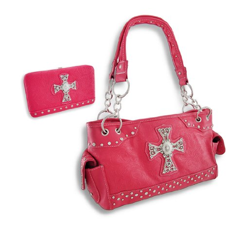 Embossed Paisley Rhinestone Cross Concealed Carry Purse and Wallet (Fuchsia), Bags Central