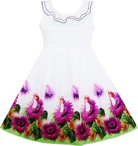 Sunny Fashion HY41 Girls Dress Sunflower Garden Turn-Down Collar Sleeveless Size 4