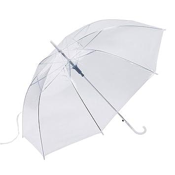 Ironheel Claro / Transparente, Paraguas a Prueba de Viento Claro automática Plegable Ligero Domo Transparente