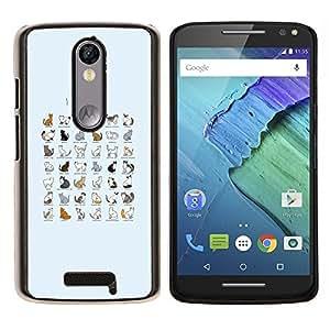 YiPhone /// Prima de resorte delgada de la cubierta del caso de Shell Armor - Especies gato Gráfico Todo Lista Razas Gatitos - Motorola Moto X3 3rd Generation