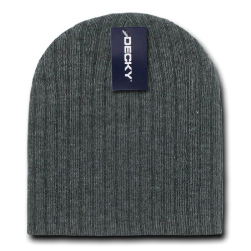 Decky Inc Cable Knitted Snug Fit Cuffless Acrylic Beanies Skull Hat 601 Heather - Knitted Cable Beanie Cuffless