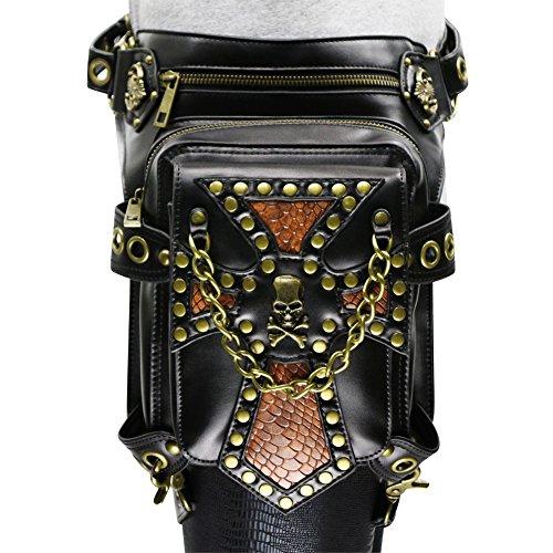 Étoile de bal Vintage sac à bandoulière Steampunk en cuir Punk Sac à bandoulière taille femme jambe Pack portefeuille flèches poche poches noir