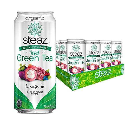 STEAZ Organic Superfruit Green Tea, 16 FZ (Pack of 12)
